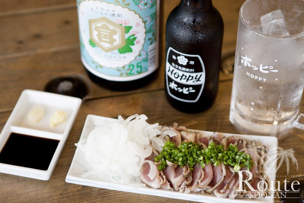 宮崎の新鮮な地鶏を使用した、地鶏のたたき。 ¥ 750